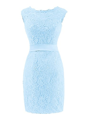 Mother of Backless Lace The Blue Dress Knee Bride Prom Bess Women's Length Sky Bridal wg0qz8