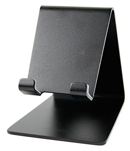 DuraGadget schwarzer Tisch-Stand mit Durchlass für Kabel für IFA 2015 ARCHOS 50 Cesium, 50e Helium, Diamond Plus und Diamond S Smartphones