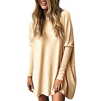TUDUZ Blouse Women's Blouse Casual Round Neck Loose Long Sleeve Pullover Tops Blouse Large Khaki