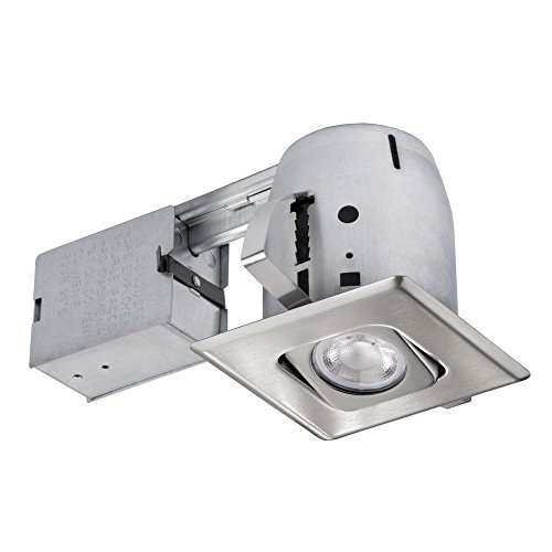 """Globe Electric 4"""" Die-Cast Swivel Square Trim Recessed Lighting Kit, Brushed Nickel, Easy Install Push-N-Click Clips, 3.88"""" Hole Size 90039"""