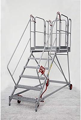 XXL Plataforma de escaleras – Rejilla niveles – 6 peldaños, plataforma Altura 1380 mm – Trabajo de podio conducción