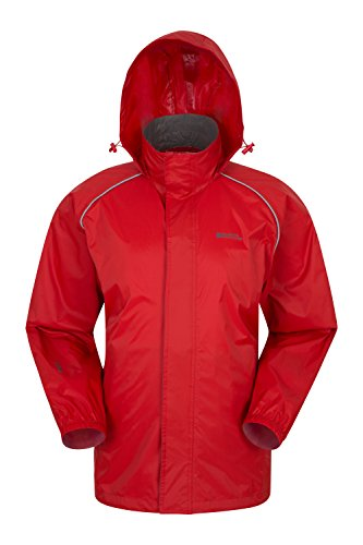 Mountain Warehouse Pakka Mens Waterproof Rain Jacket - Packable Red Small