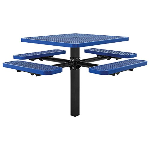 46″ Square Picnic Table, In-Ground Mount, Blue