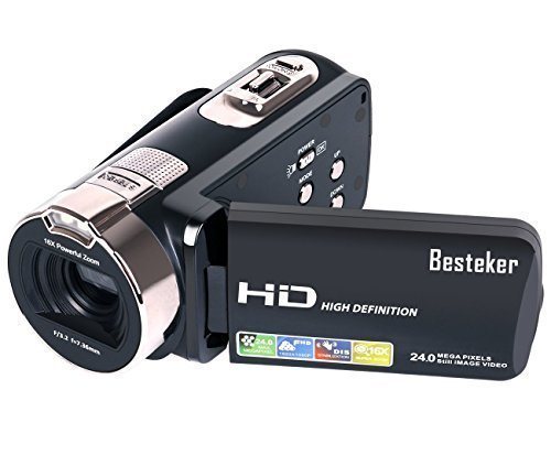 Camera Camcorders, Besteker HD 1080P 24 MP 16X Digital Zoom Video Camcorder with LCD and 270 Degree Rotation Screen