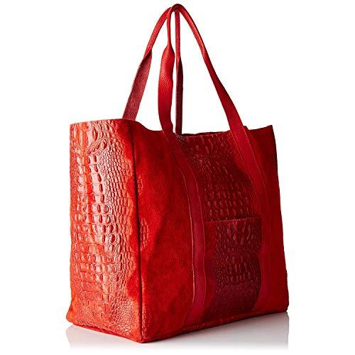 Pelle In Triplo Rosso Borse Chicca Italy Bundle Made fARxp7q