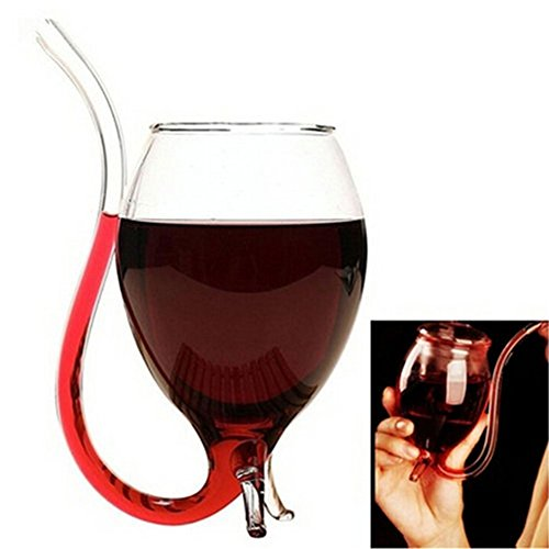 Kicode Creative 300ml Vampire Devil Clear Glass Juice Red Wine Cup Mug with Nozzle Party Gift