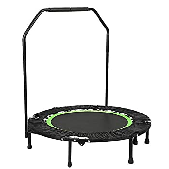 Image of ANCHEER Fitness Exercise Trampoline with Handle Bar, 40' Foldable Rebounder Cardio Workout Training for Adults or Kids (Max. Load 300lbs, Zero Stretch Jump Mat) (Green - Adjustable Legs) Fitness Trampolines