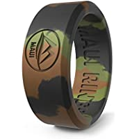 MAUI RINGS Silicone Wedding Ring for Men Solid Style Engagement Rings Silicone Wedding Band for Men Mens Ring Men Wedding Band Safe Ring for Athletes Sport Gym