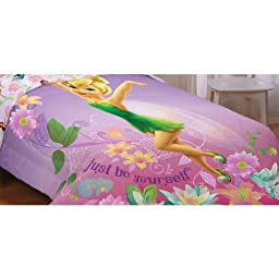 Disney 72 by 86-Inch Fairies be Yourself Reversible Comforter, Twin/Full