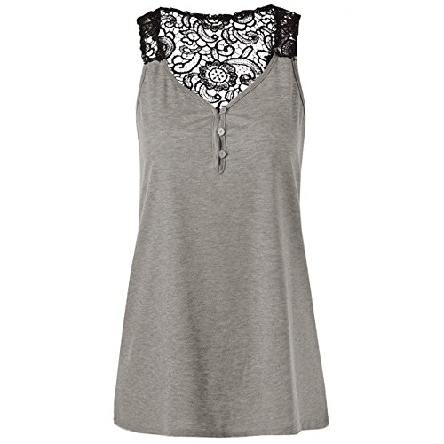 Women Tank Tops Loose Fit,Sunyastor Summer Plus Size Sexy Embellished Halter Neck T Shirts Blouse Lace Tank Sling Tops (A Gray, Small)