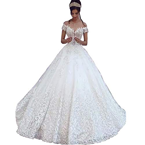 (Chady Sexy Off Shoulder Lace Ball Gown Wedding Dresses for Bride 2018 Cap Sleeves Applique Sweep Train Backless Bridal Gowns White)