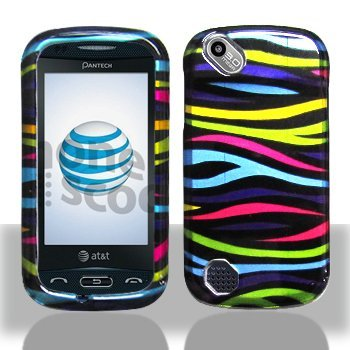 Black with Rainbow Color Zebra Design Snap on Hard Skin Shell Cover Case for Pantech P9050 / Laser