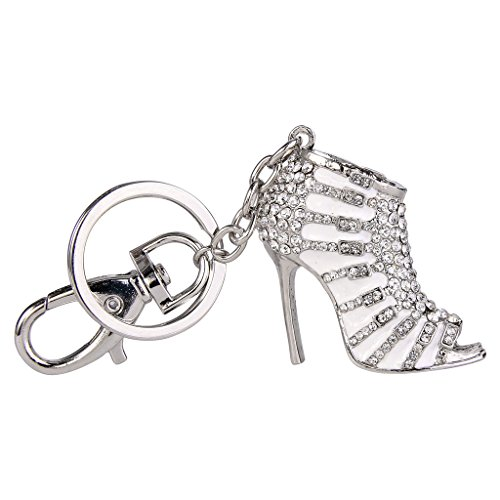 EVER FAITH Austrian Crystal White Enamel Sexy High Heel Shoe Keychain Clear Silver-Tone