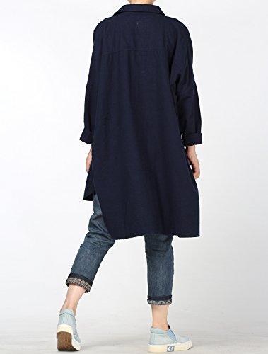 Fonc Hiver Casuel Blouse Manche Long Ample Nouveau Femme Chemisier Chemise Flanelle Dcontract Automne Bleu Robe Vogstyle Longue wxafqAOn