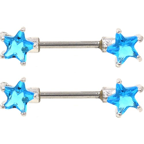 Pair of Star Shaped Cubic Zirconia Nipple Piercing Rings Barbells Stainless Steel - 14 Gauge 1/2