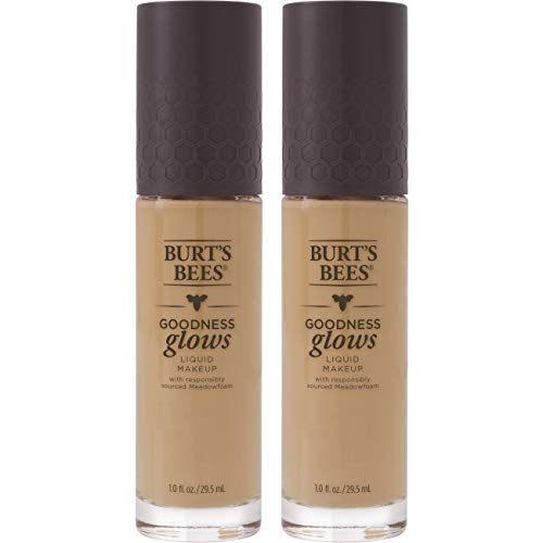 Burt's Bees Goodness Glows Liquid Makeup, Warm Honey - 1.0 Ounce (Pack of 2)