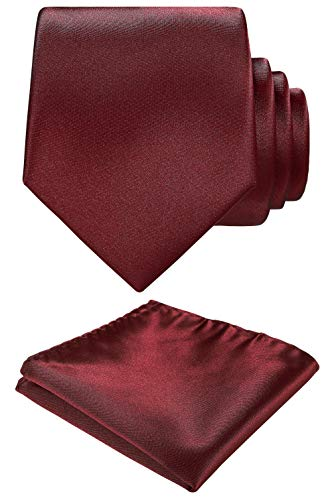 Solid color Neck tie.Pocket Square,Gift Box set. (Wine)