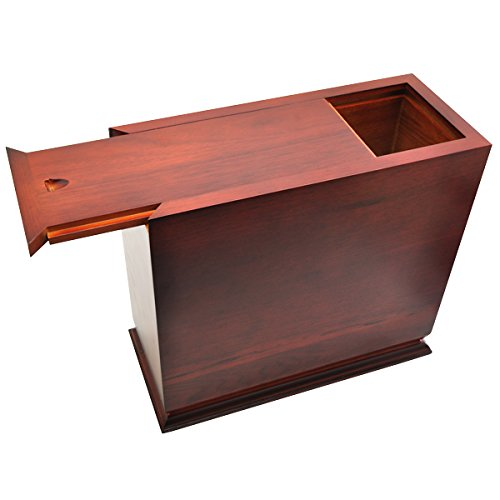 Cherry Finish Slide Top Wood Urn (Photo Engraved) by Memorial Gallery (Image #1)