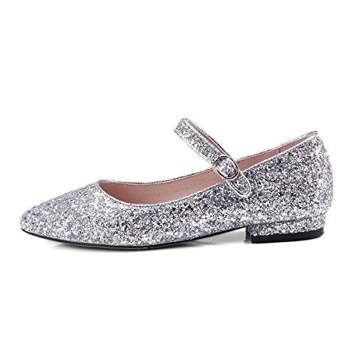 YE Damen Flache Mary Jane Pumps Knöchelriemchen High Heels mit Glitzer Pailletten Bequem Elegant Schuhe Silber