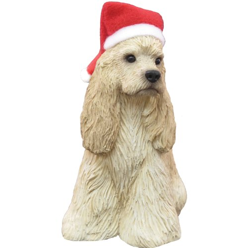 Sandicast Buff Cocker Spaniel with Santa Hat Christmas (Cocker Spaniel Sculpture)