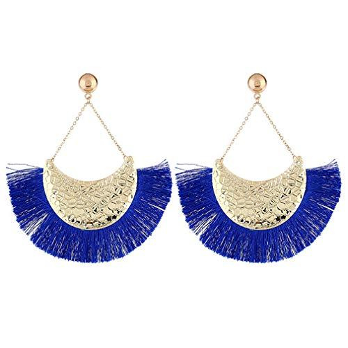 ROWAG Semicircle Fan Shape Women Tassel Dangle Stud Earrings Bohemian Fringe Thread Ear Drop Earrings ()