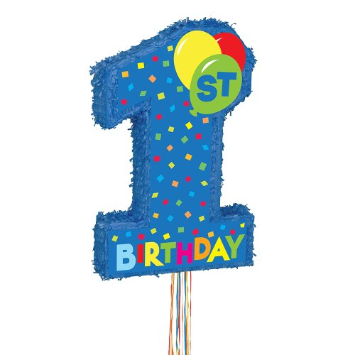 Boy 1st Birthday Pinata, Pull String ()