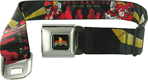 Buckle-Down Seatbelt Belt - RED RANGER Action Poses/Skyline/Rays Black/Grays/Yellow/Red - 1.5