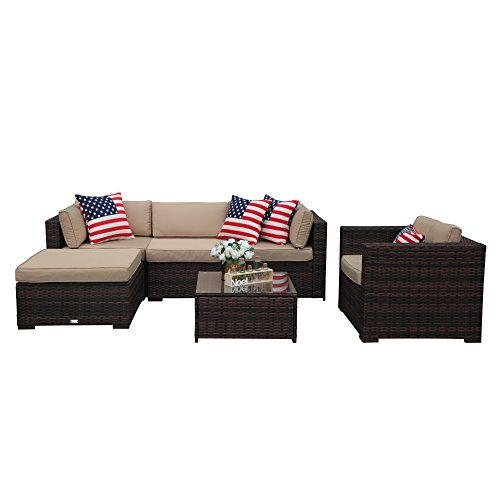 PATIOROMA Outdoor Furniture Sectional Sofa Set (6-Piece Set) All-Weather Brown Wicker with Beige Seat Cushions & Glass Coffee Table & Single Sofa Chair| Patio, Backyard, Pool|Aluminum Frame