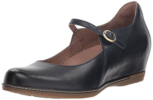Dansko Women's Loralie Mary Jane Flat, Navy Burnished Nubuck, 37 M EU (6.5-7 US)