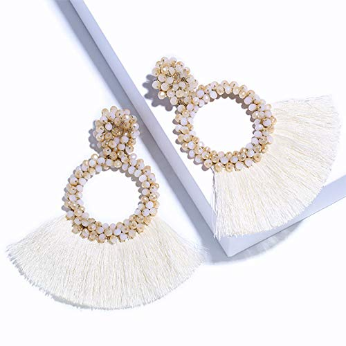 (Zhaoyun Hoop Tassel Earrings for Women - Statement Handmade Beaded Fringe Dangle Earrings, Idea Gift for Mom, Sister and)