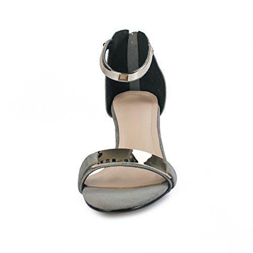 1TO9 Womens Zipper Chunky Heels Solid Lambskin Heeled Sandals MJS02840 Gray YgvMTRq