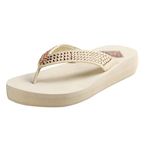 Yiiquan Mujer Sandalias Strass Playa Chanclas Plataforma Zapatos del verano Beige