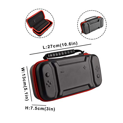 Accessories Kit for Nintendo Switch Games Bundle Wheel Grip Caps Carrying Case Screen Protector Controller