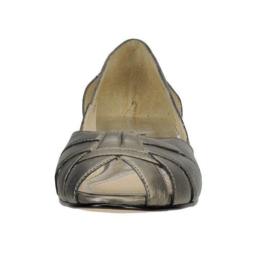 Womens Toe Mark Ballet Pewter Peep Flats Zuzu Lemp Classics XwwgZqzE