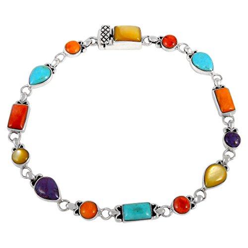 Gemstone Link Bracelet Sterling Silver 925 Genuine Turquoise & Gemstones (Multi) - Stone Gemstone Bracelets Multi Jewelry