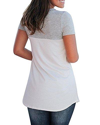 ... Minetom Damen Sommer Basic V Ausschnitt T-Shirts Kurzarm Farbblock Mode Casual  Bluse Oberteile Tops d58ac1e31c