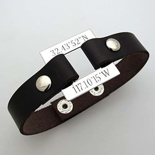 amazoncom latitude longitude mens bracelet