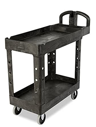 Rubbermaid Commercial Heavy-Duty Utility Cart with Lipped Shelves, Small, Black, FG450088BLA