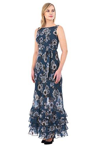 Floral Print Banded Empire Dress (eShakti Women's Ruffle Floral Dot Print Georgette Maxi Dress 2X-20W Short Navy/Multi)