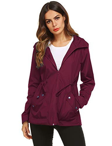 - ZHENWEI Short Rain Coat Women Teenage Breathable Jacket Wine Red Medium