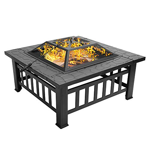 """Bonnlo 32"""" Fire Pit Outdoor Wood Burning Table Backyard, Terrace, Patio, Camping - Includes Mesh Spark Screen Top and Poker"""