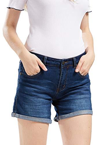 chouyatou Women's Basic Stretched Mid-Rise Turn-Up Cratched Denim Shorts (XX-Large, Blue)