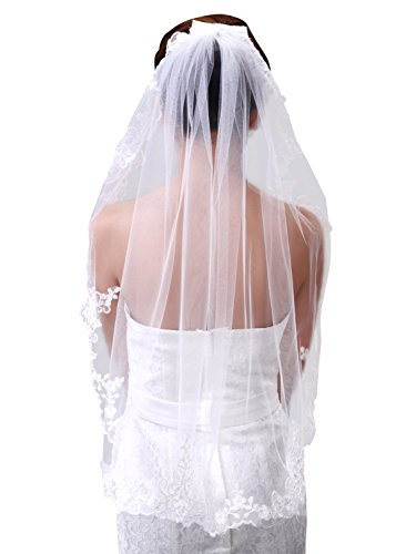 Sisjuly Women's Tulle Elbow Wedding Veil with Lace Edge Ivory