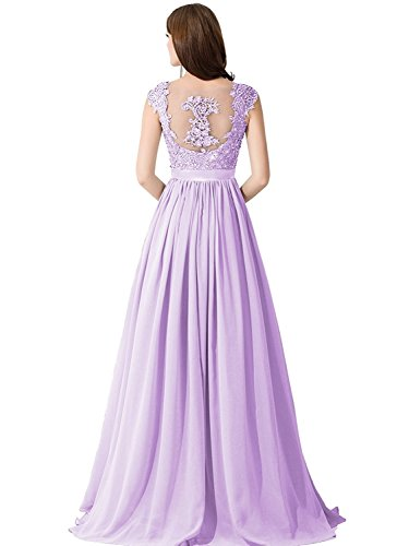 n's Elegant Lace Chiffon Maxi Evening Cocktail Party Gowns,Lilac,Size 16 ()