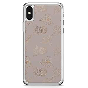 iPhone X Transparent Edge Phone Case Dark Linear Phone Case Gold Lines Pineapple iPhone X Cover with Transparent Frame