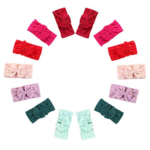 (Newborn Baby Headbands with Knotted Bows, Girl's Hairbands for Newborn,Toddler and Children )