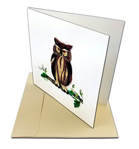 "Great Horned Owl Quilling Greeting Card, 6x6"" with Envelope. Any Occasion. Blank Inside. Hand-made. Suitable for Framing."