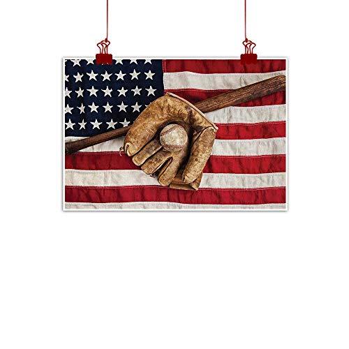 Fabric Cloth Rolled Baseball,Vintage Baseball League Equipment USA Grunge Glove Bat Fielding Sports Theme,Brown Red Blue 28