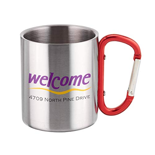 (Personalized Custom Text Welcome Sign Adress Steel Carabiner)