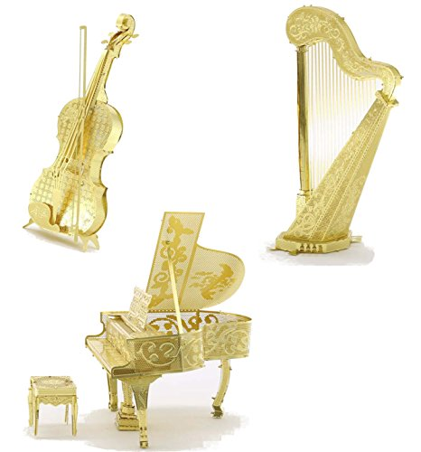 3D Metal Puzzle Models Of Violin, Harp and Piano - DIY Toy Metal Sheets Assembling Puzzle, 3D puzzle - 3 Pack